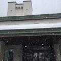 雪が降りしきる去来荘